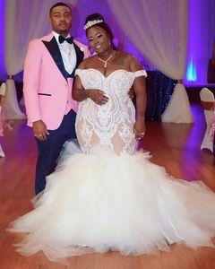 2020 Plus Size Arabic Aso Ebi Illusion Sexy Mermaid Wedding Dresses Lace Sweetheart Bridal Dresses Vintage Cheap Wedding Gowns ZJ955