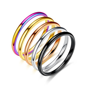2mm 4mm 6mm Polished Silver Color Titanium Ring Women Smooth Wedding Band Minimalism Simple Stack Rings Female Fashion Jewelry