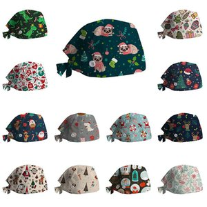 High Quality Christmas Printing Series Scrubs Hat Adjustable Multicolor Beautician Working Hats Pet Grooming Scrub Cap Wholesale