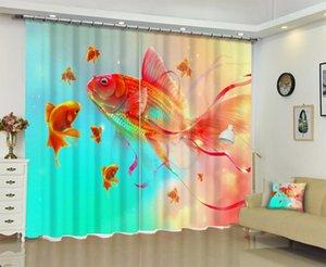Sanat Goldfish Fotoğraf 3d Sunshade Pencere Perde Ev için