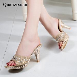 Quanzixuan Spike Heels Frauen Pumps Sexy High Heels Frauen Kristall Party Frauen Schuhe Gold Offene Zehe Damen Schuhe Y200405