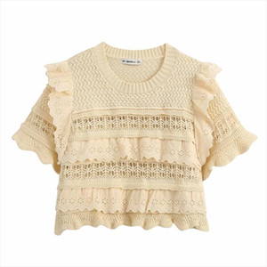 New 2020 Women Fashion O Neck Hollow Out Embroidery Lace Patchwork Knitting Casual Sweater Ladies Ruffles Thin Sweater Tops