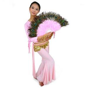 Göbek Dans Tavuskuşu Tüyleri Dans Fanı 10 Renkler Yüksek Kalite Sahne Performansı Sahne Tüy Katlanır El Fanlar1