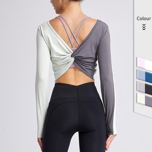 Long Sleeve Yoga Shirts Women Sportswear Backless Cross Design Crop Top for Fitness Women Open Back Gym Top Female Sport T-shirt