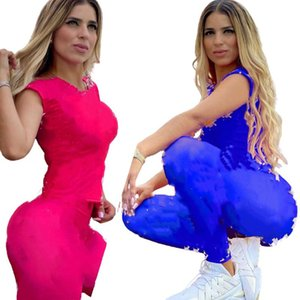 Donne Tracksuit Short Sleeve Shorts Outfits Due pezzi Set sportswear Sportswear Casual Sport Suit New Hot Selling Womens Abbigliamento KLW3399