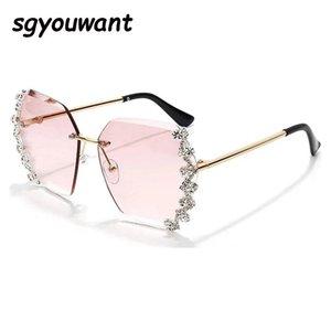 Rimless SGYOUWANT STUDES Mujeres Rhinestone Tendencia Gafas Sol Lujo Mujer Diseñador de lujo Diamante Gradual Gafas de sol Gafas VRPCK