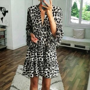 dress women Leopard print Womens Holiday V Neck Print Dress Ladies Summer Short Sleeves Beach Party Dress dresses for women