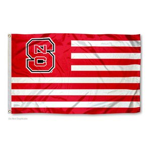 North Carolina State Wolfpack NCS Stripes Flag NCAA Flag 3x5FT Double Stitched Decoration Banner 90x150cm Sports Digital Printed Wholesale