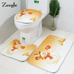 Zeegle Christmas Bathroom Mat Bath Rug Set 3pcs Europe Joyous Bath Mat Anti Slip Shower Room Toilet Floor Sets