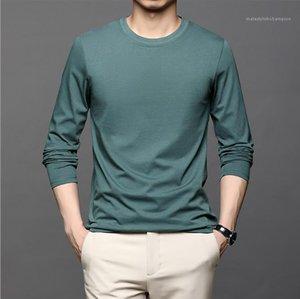 Langärmelige Rundhalsausschnitt Slim T-Shirts Mode Lässige Männliche Kleidung Herbst Herren Designer Tshirts Solide Farbe