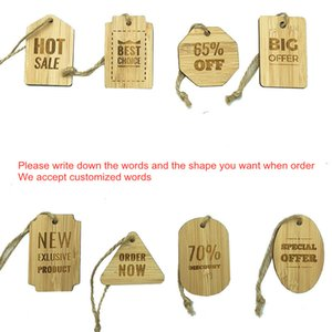 50pcs  lot bamboo tag wood labels for shop wooden price sign of cloth hanging gift tag
