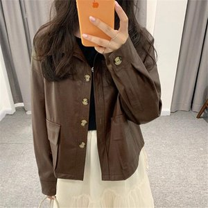 Alien Kitty New Autumn Brief Elegant Chic All-Match 2020 Office Lady Cool PU Leather Locomotive Girl Fashion Simple Short Coats