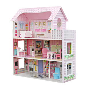 3 Layer Cute Mini Kid's Wooden Pretend Play House Kids Doll Dollhouse Mansion Furniture Pink Children's Gifts