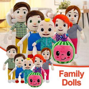 15-33cm cocomelon 봉제 장난감 소프트 만화 가족 코코 멜론 JJ 가족 자매 형제 엄마와 아빠 장난감 도살장 어린이 Chritmas 선물