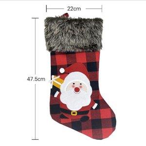 Plush Stocking Bags Large Size Latticed Candy Bag Xams Tree Decoration Socks Ornament Christmas Gift Wrap DHB1935