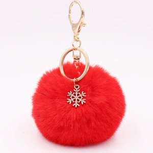personalied colorful Fashion Christmas day gift accessory snowflake plush alloy snowflake Christmas fur ball pendant bag keychain wholesale