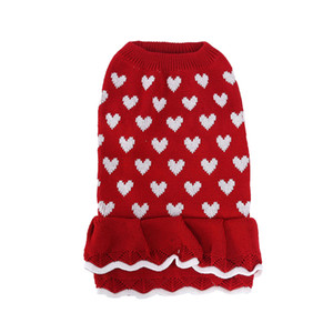Dog Christmas Skirt Adorable New Year Pet Clothes Dog Sweater Dress Pet Supplies Red Color Heart Pattern Keep Warm In Autumn and Winter