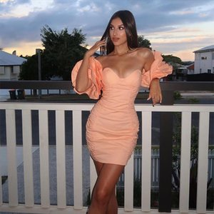 Off Shoulder Folds Ruffles Sexy Dress Women Mini Night Club Party Dress Ladies Backless Bodycon Summer Dresses Vestidos