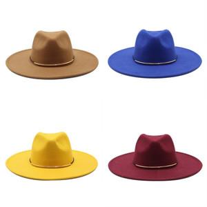 Big Eaves Jazz Formal Hat Golden Plated Ring Buckle Woolen Cloth Felt Fedora Panama Hats Women Winter Wide Brim Caps 12 5jz M2