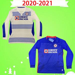 Manga larga 2020 2021 Cruz Azul Soccer Jersey Liga MX Home 20 21 Lejos Camisa de fútbol México Mens Camiseta de Fútbol Manga completa