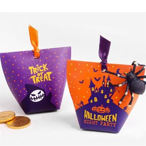 Halloween Trick or Treat Witch Purple Candy Box and Halloween Night Party Pumpkin Castle Orange Candy Box Gift Bag