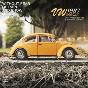 Volkswagen yellow beetle old alloy model simulation pendulum return force children's toy car