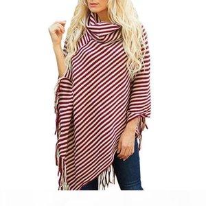 Tassel burgundy stripe ponchos turtleneck irregular cardigan sweater knit scarf shirts polyester one color women cape stripe coat