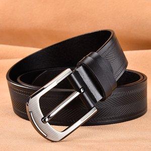 AOLUOLAN MEN REM BLACK черный / коричневый / белый / верблюд 100% реальный кожаный костюм ремень джинсы шириной 3,8 см талии 110-130см ремешок J1223