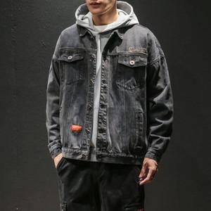 İlkbahar Sonbahar Yeni Erkek Jean Ceket Gevşek Pamuk Denim Ceket Mavi Siyah Retro Kargo Mont Erkekler Kovboy Gençlik Erkekler 5XL