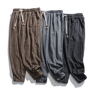 Neploha мужская утолщение теплые шерстяные брюки зимний новый китайский стиль полосы старинные брюки повседневные негабаритные брюки