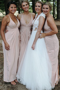 Sexy Spaghetti Straps Bridesmaid Gown Pleats Design Long Maid Of Honor Dresses for Wedding Party Custom Made