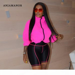 ANJAMANOR Sexy Two Piece Set Hoodie Top Biker Shorts Streetwear Casual Tracksuit Women Sports Suit Plus Size Outfits D37-42