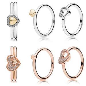 Rose Blushing Romance Puzzle Heart Of Golden Puzzle Gift Set Rings With Crystal 925 Sterling Silver Ring DIY Europe Jewelry