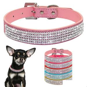 Bling Diamante Rhinestone PU cuero cuero collares de perro rosa para pequeños perros medianos chihuahua yorkie 5 co qylips dh_garden