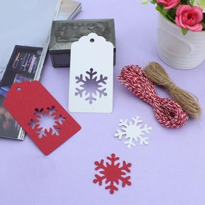 50Pcs Pendant Hollow Snowflake Design Christmas Hanging Kraft PaperTags Card with Rope Gift DIY Crafts