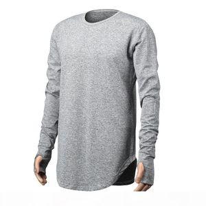 Mens Hip Hop T Shirt full Long Sleeve T-Shirt With Thumb Hole Cuffs Tees shirts Curve Hem Men Street Wear Tops