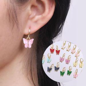 Nuovi Orecchini a farfalla acrilica colorati a farfalla per le donne Acetic Acidt Placcato Dichiarazione Hoop Eartrings Earrings Moda gioielli regalo