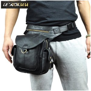 "Leather Men Design Casual 8"" Tablet Messenger Shoulder Bag Multifunction Fashion Travel Waist Belt Pack Leg Bag Male 9938b"