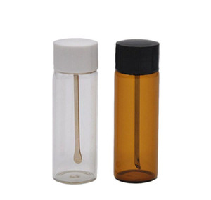 Clear brown Glass Snuff Metal Vial Spoon Spice Snorter Pill Box Storage Bottle Case Container Stash Mixed Col jllIoM bdebag