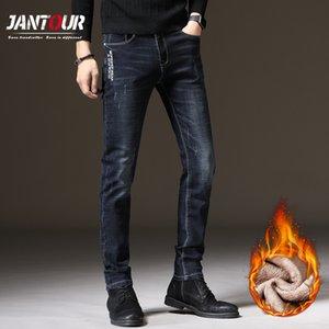Jantour Erkekler Kış Polar Yağ Sıcak Yeni Moda İnce Denim Broek Retro Uzun Kot Erkek