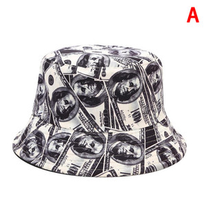 Cotton Double Sided Creative Dollar Graffiti Bucket Hat Fisherman Hat Outdoor Travel Sun Cap Hats For Women