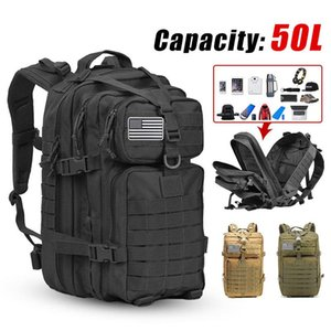 50L Large Capacity Man Army Tactical Backpacks Assault Bags Outdoor 3P Molle Pack For Trekking Camping Hunting Bag