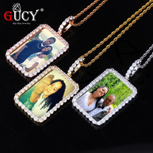 GUCY Custom Made Photo Squar Medallions Solid Back Pendant & Necklace With Tennis Chain Cubic Zircon Men's Hip Hop Jewelry J1202
