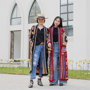 TIYIHAILEY Free Shipping Fashion 100% wool Coat For Women Plus Size Loose Outerwear Long Sleeve Maxi Hand Made National Sweaters Z1123