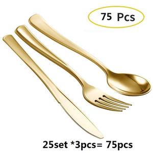 75 stücke Einweg Goldbesteck Kunststoff Hochzeitsfest Geschirr Set Bronze Goldene Abendessen Messer Gabel Löffel Geburtstag Geschirr Set Z1123