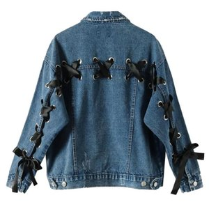 Lace Up Denim Jacket For Women Spring Winter Long Sleeve Chic Coat Causal Loose Cowboy Collar Outwear Bandage Jeans Jackets