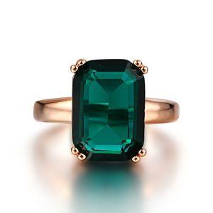 Natural Emerald Bague Zircon Anneaux de diamant pour Femmes Engagement Anneaux De Mariage Avec Green Gemstone Bague 14K Rose Gold Bijoux fins Y1119