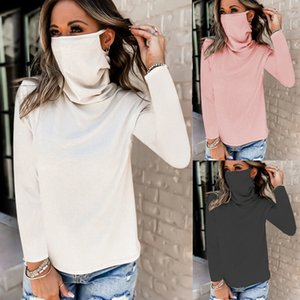 OMSJ Casual Solid Long Sleeve Ribbed Knitted Top 2020 Autumn Winter Women Fashion Turtleneck Face Mask Dust Protection Tee Shirt A1112