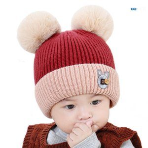 2020 new Winter 0-2Y cute baby hats Cartoon newborn hats Infant hats crochet knitted beanie hat baby beanies toddler caps B2799