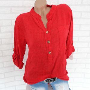 Women Tops Blouses 2020 Autumn Elegant Long Sleeve Solid V Neck Chiffon Blouse Female Work Wear Shirts Blouse Plus Size 5XL Lady